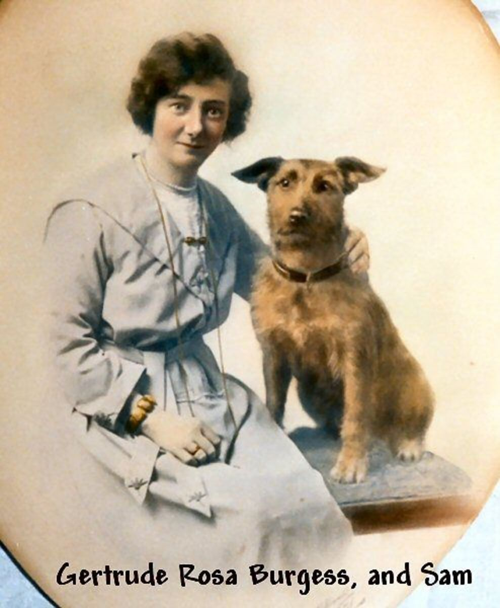 Gertrude Rosa Burgess and her dog Sam