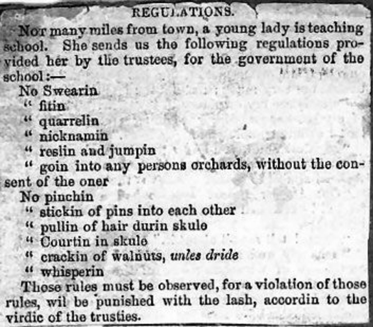 Early 19th century American School Regulations