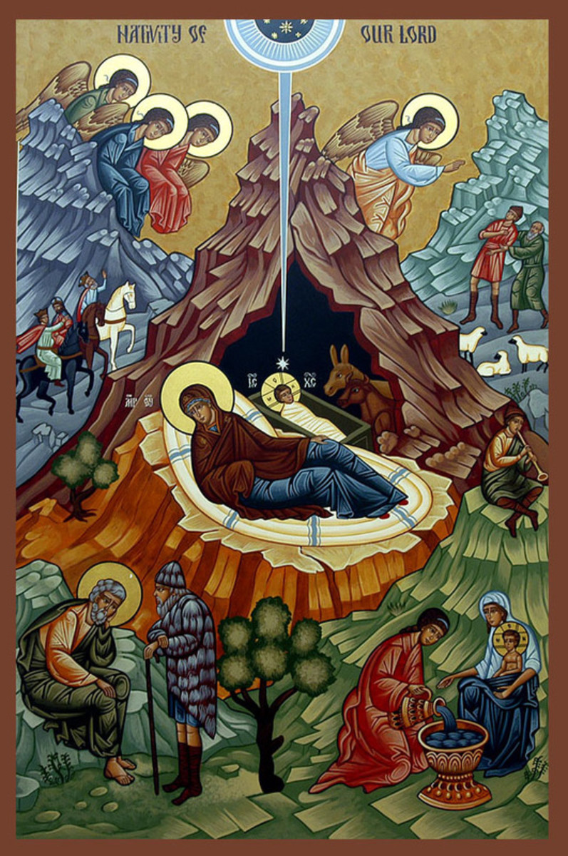 A nativity icon from the Russian Orthodox Church.