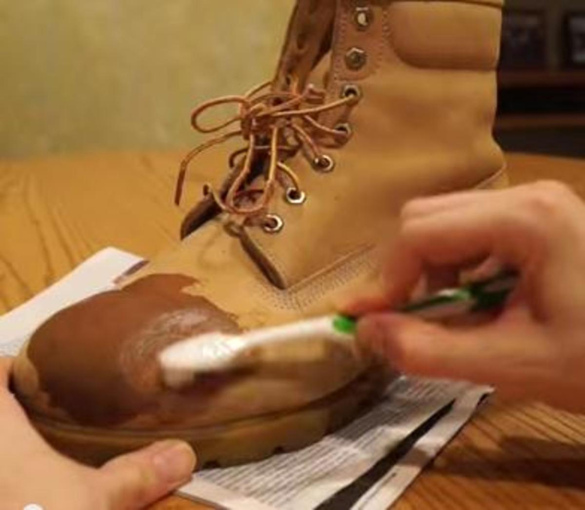 Scrub boot (make bubbles) with suede cleaner.
