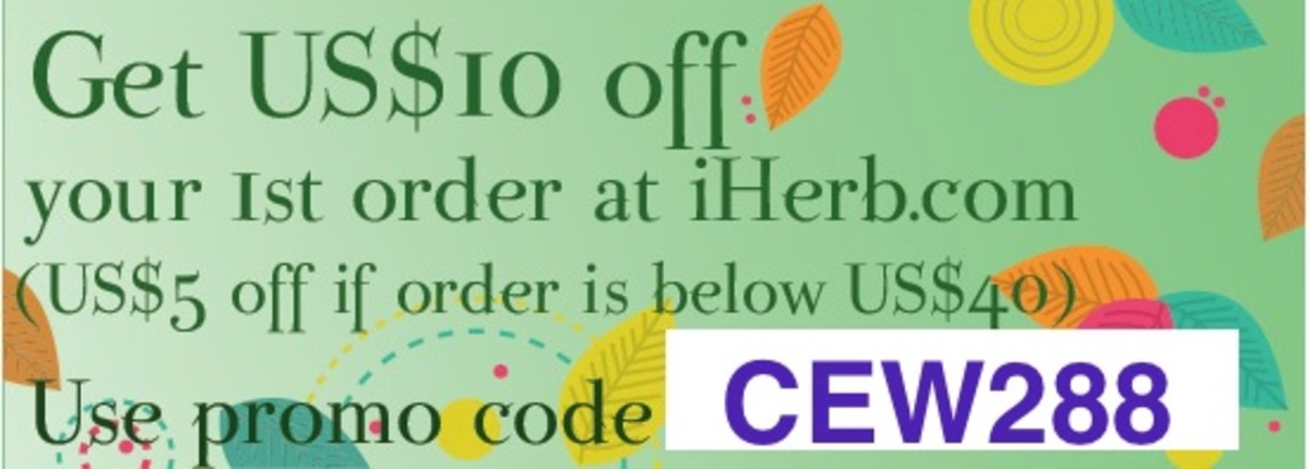 "$10 off your first purchase at iherb.com with code ""cew288""; thereafter, $5 off $40."