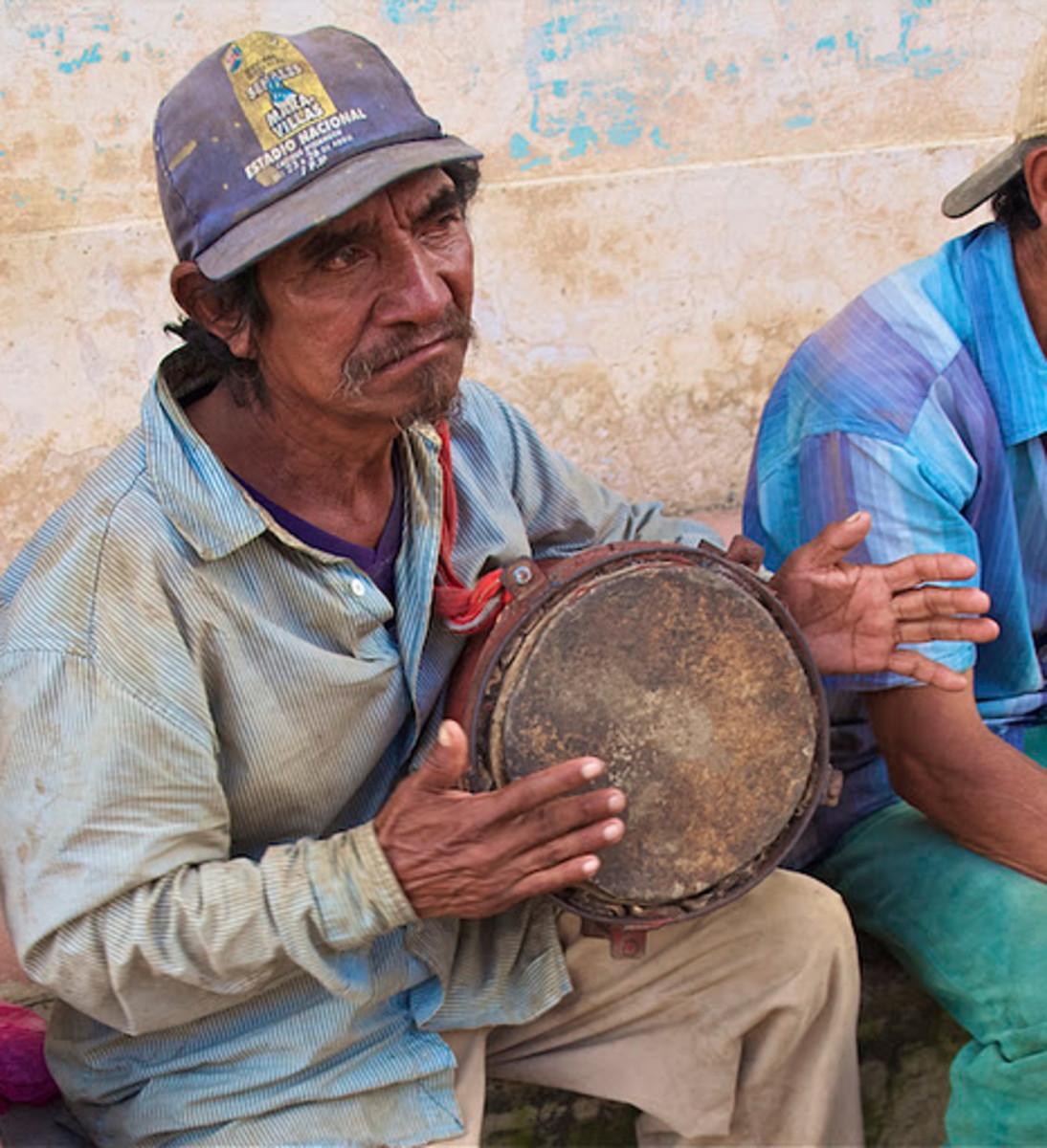 Bongo player in street band Diriamba, Nicaragua