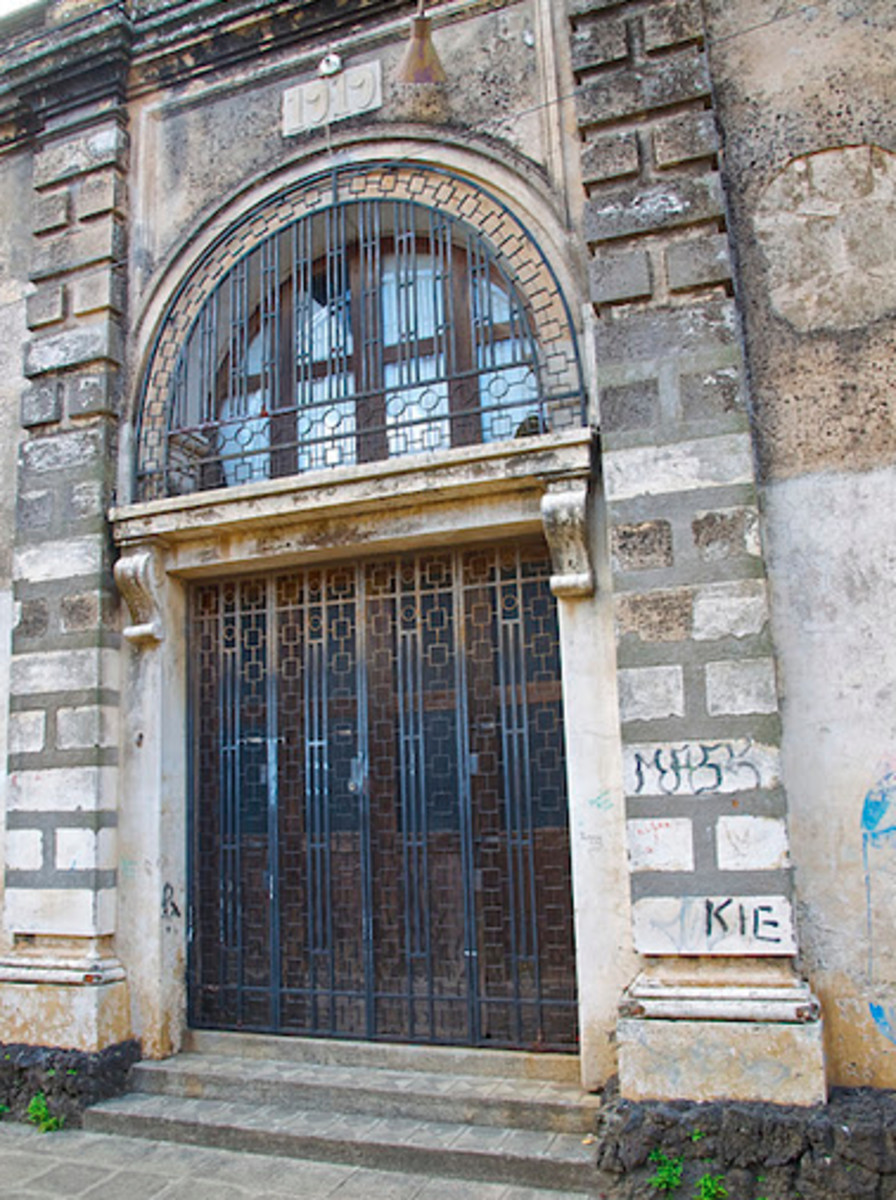 Government building protected by bars in Diriamba, Nicaragua