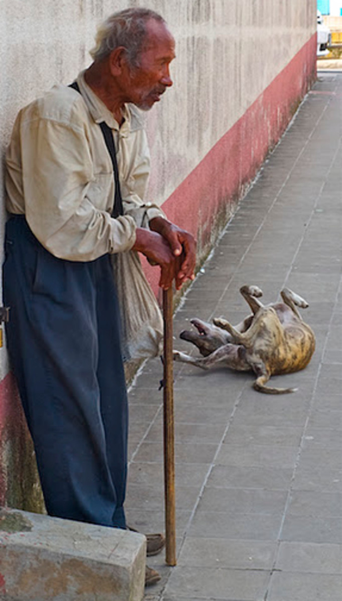 An old man and his dog on the sidewalk of Diriamba, Nicaragua