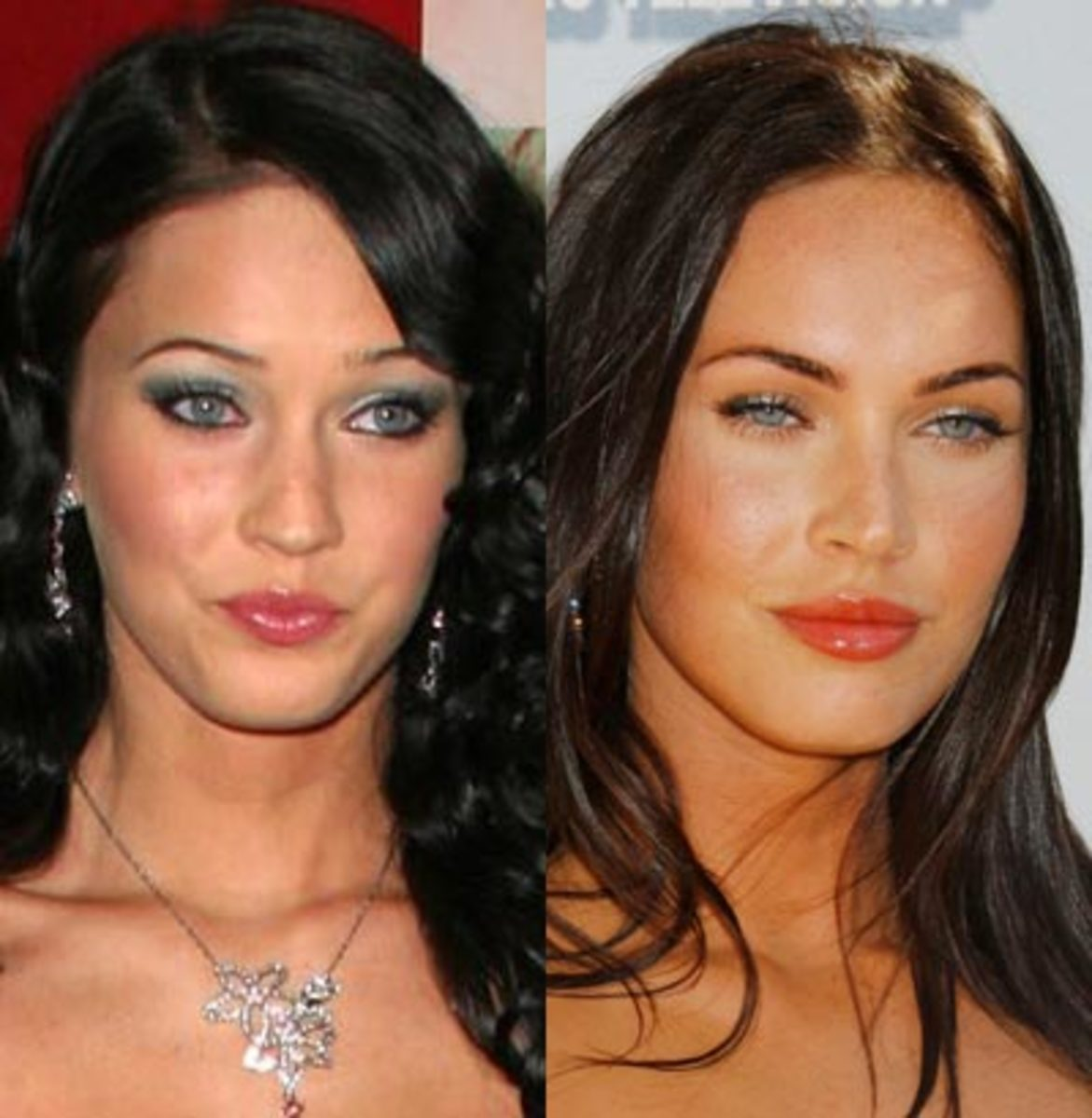 Actress Megan Fox before plastic surgery (left) and after.