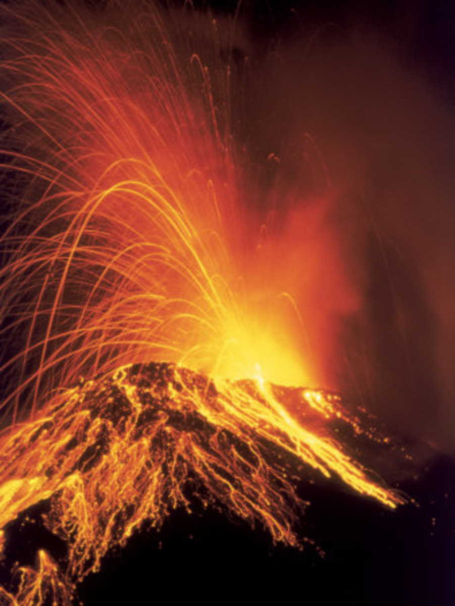 Lava is spewed from an erupting volcano