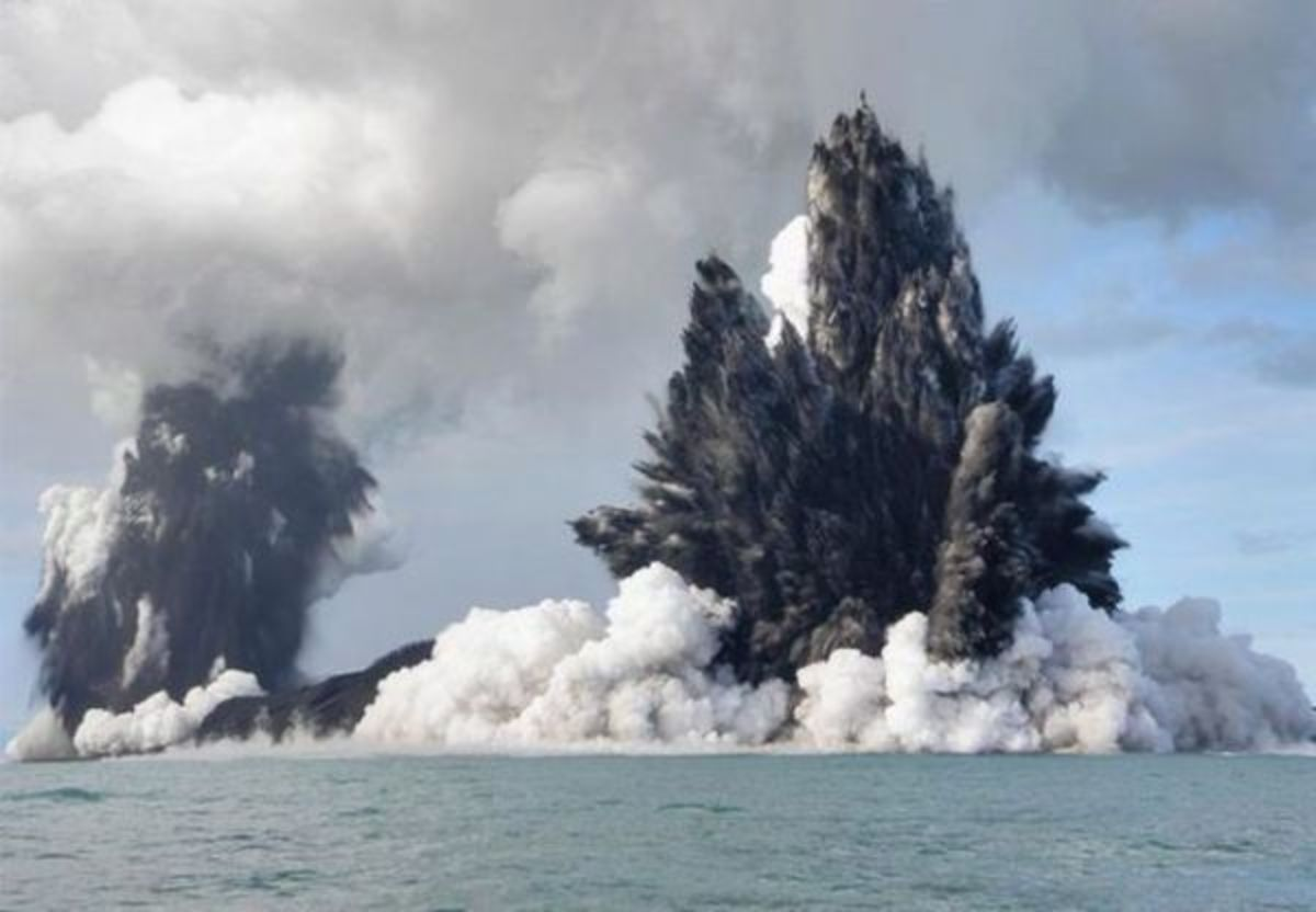 An underwater volcanic explosion, the type of which can lead to tsunamis