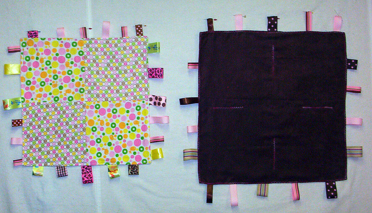 This is the back view of both blankets.  The one on the right is brown faux suede.  I like to use different textures.