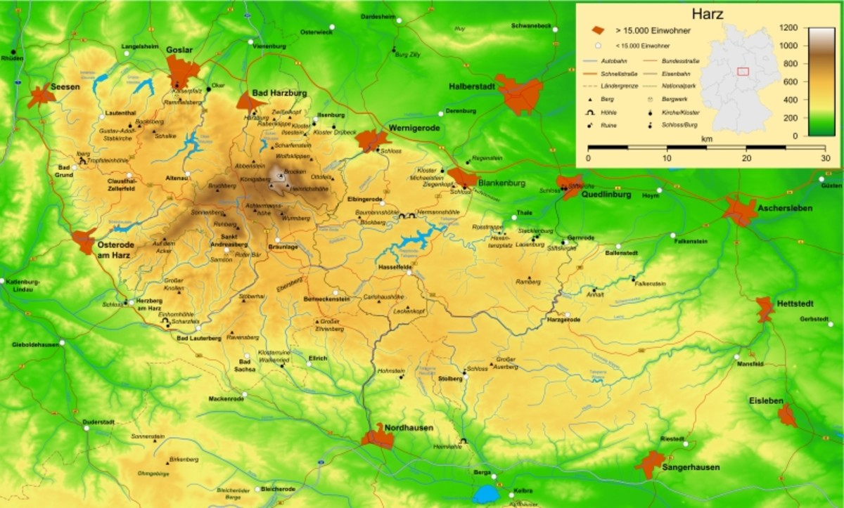 Map showing the Harz mountains (inset shows location in Germany).