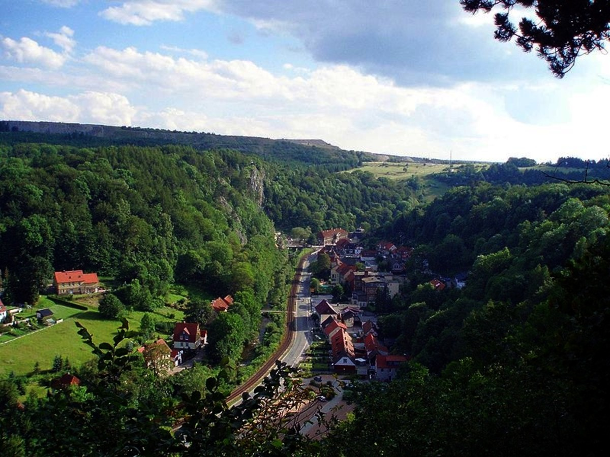 View from Schornsteinberg of the village of Rubeland in the Harz Mountains of Germany
