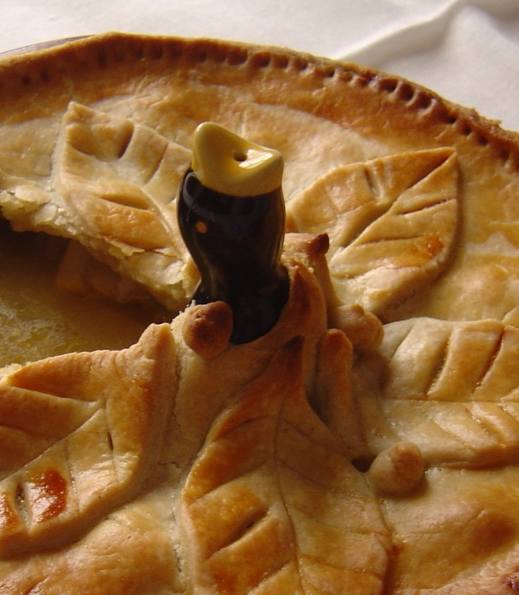 Put the bird in the pie and seal the pastry around it