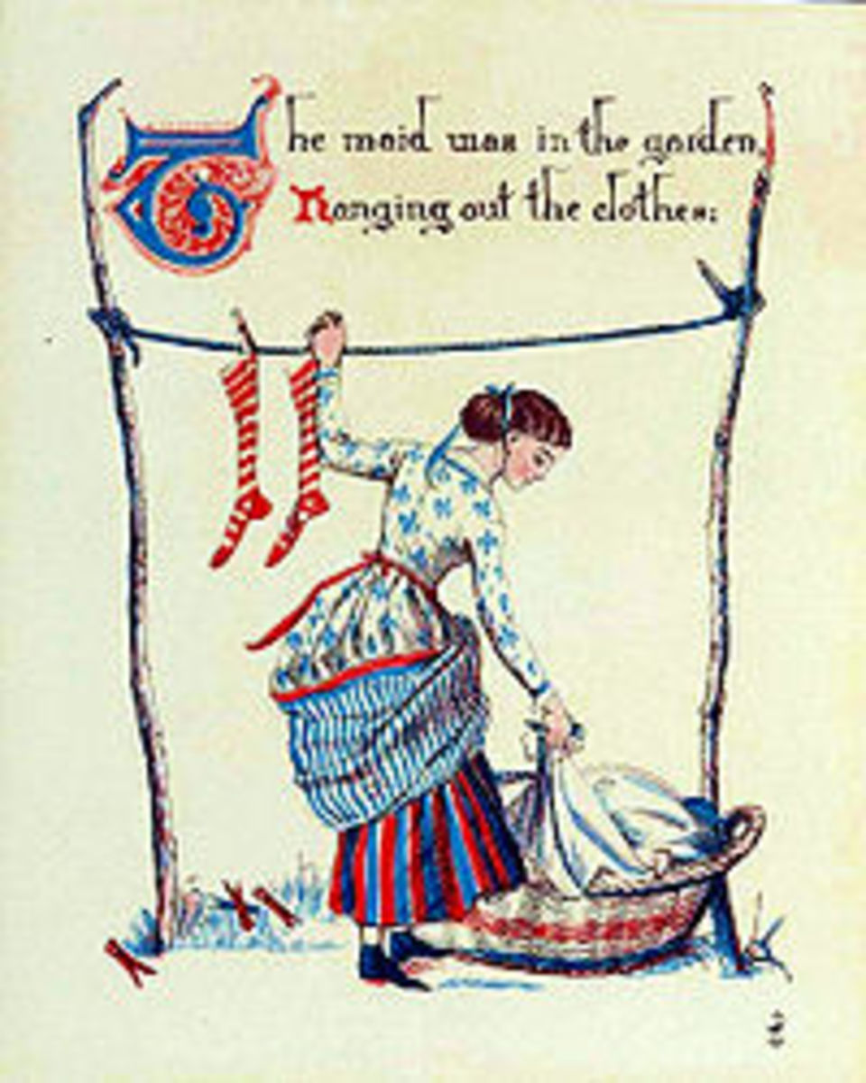 Illustration of the maid hanging out the clothes. Courtesy of Wikimedia Commons