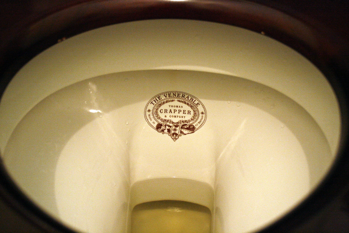 A Toilet from the Thomas Crapper Company. Click to view a larger image to clearly see the company logo and the type of toilet.