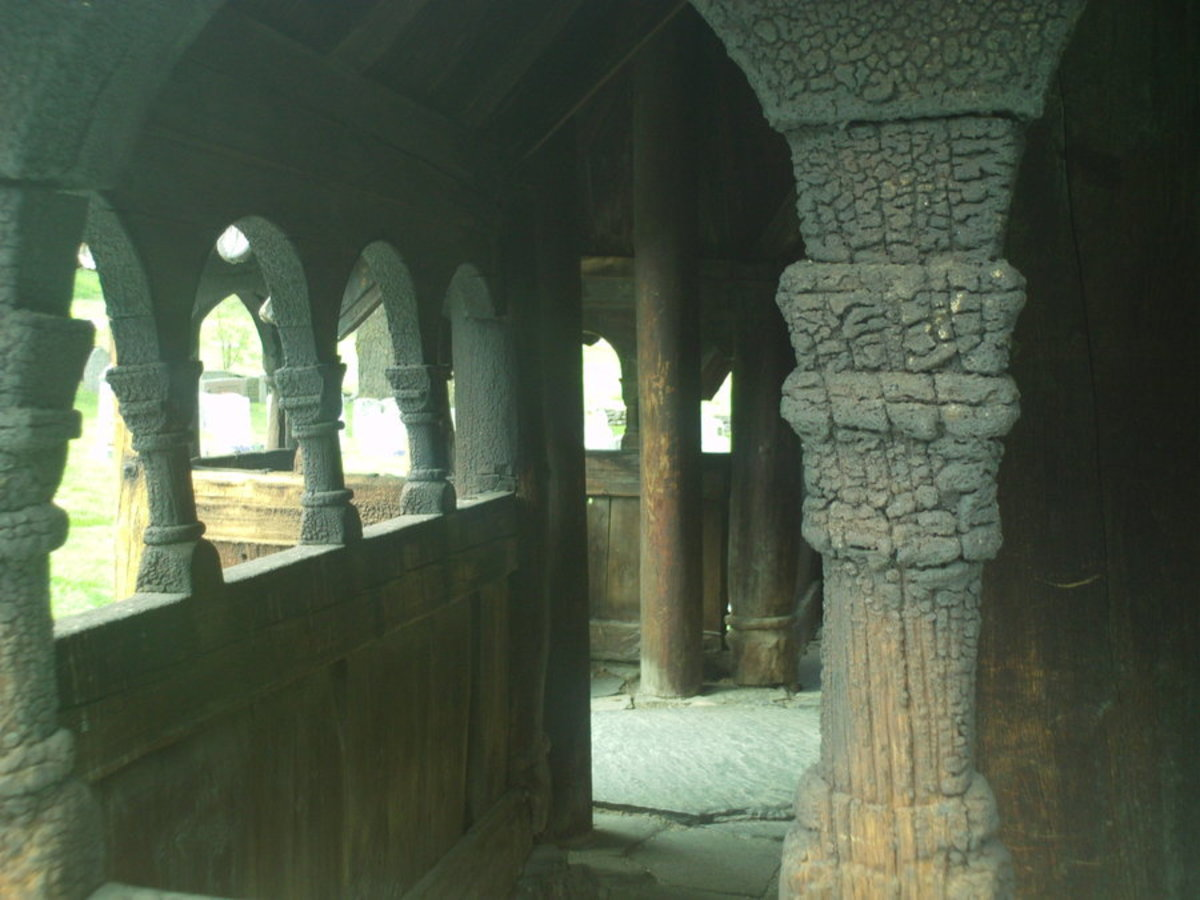 Inside Borgund Stave Church, Norway