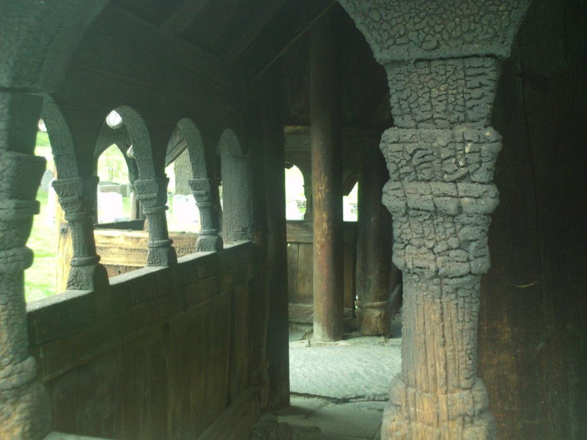 Inside Borgund Stave Church, Norway