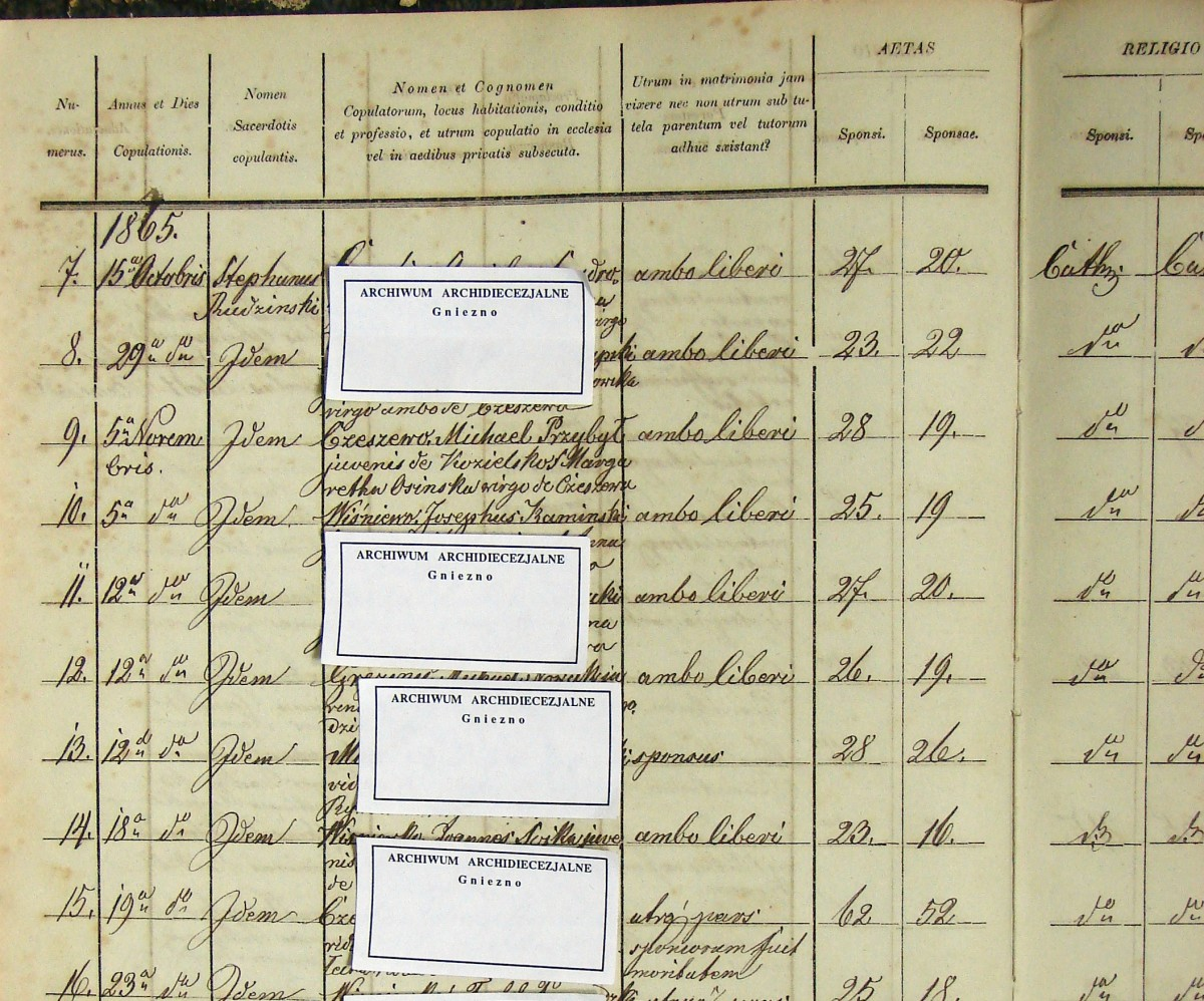 This is a photocopy of the original, handwritten marriage records of Michael and Margaretha Przybyl. (Married in 1865)