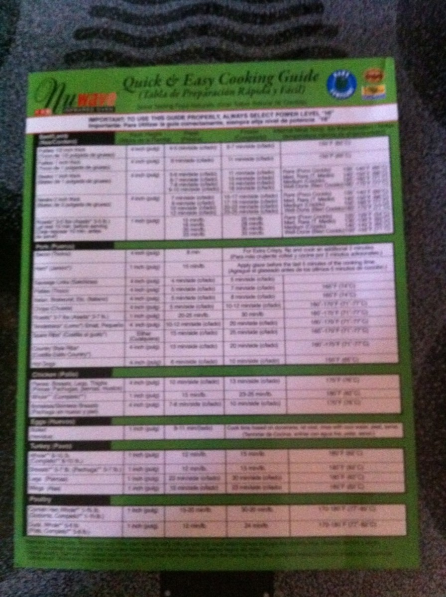 Laminated Quick and Easy Cooking Guide for NuWave.  It makes cooking so much easier.
