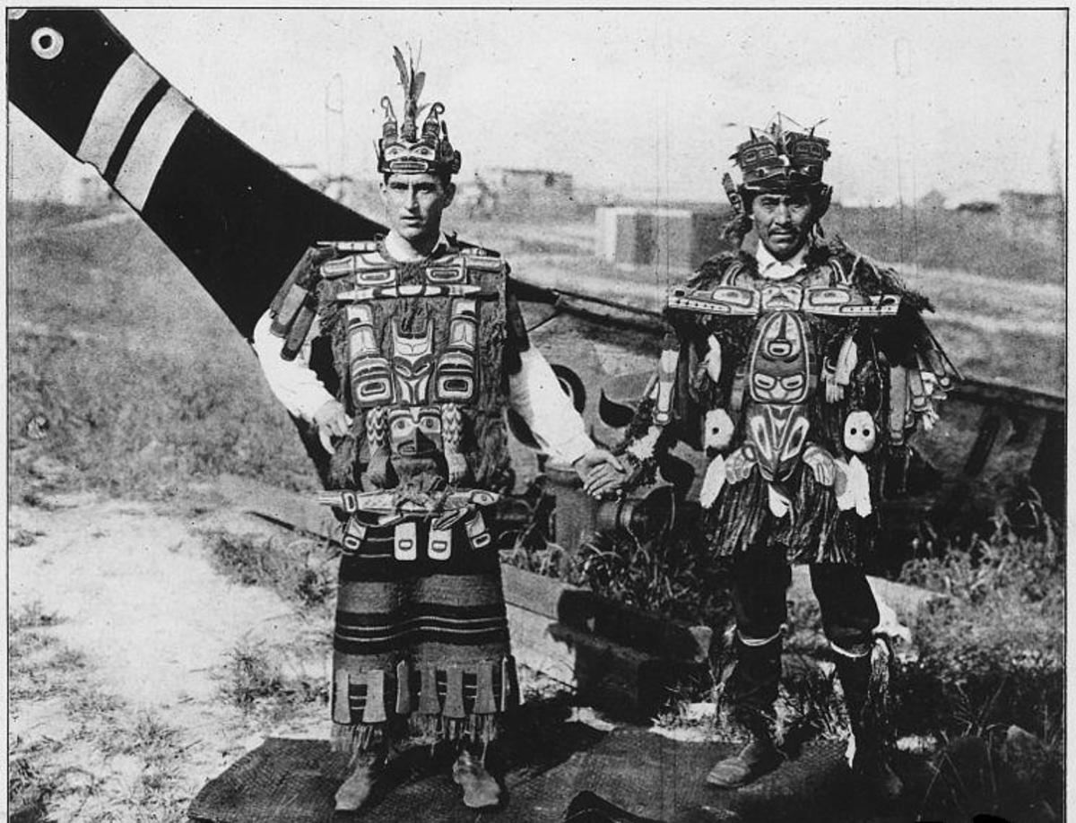 The peoples of Metlakatla, British Columbia and Metlakatla, Alaska -- Postcard of Two Kwakiutl Gentlemen. Displayed at the St. Louis World's Fair in 1904.