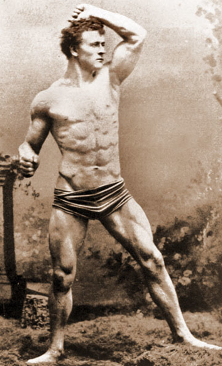 Eugen Sandow at 19, already possessing a remarkably muscular physique despite having never touched a weight