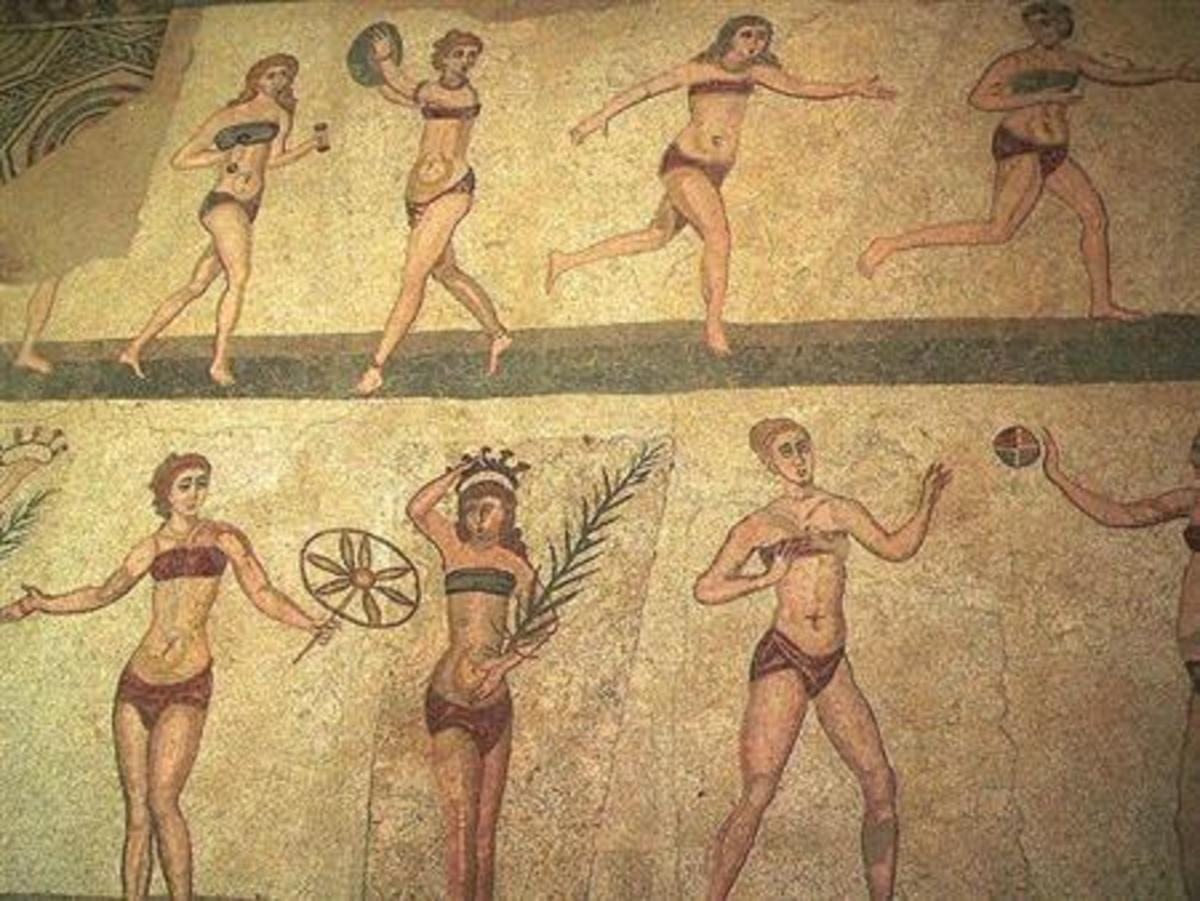 Female athletes working out in Ancient Rome