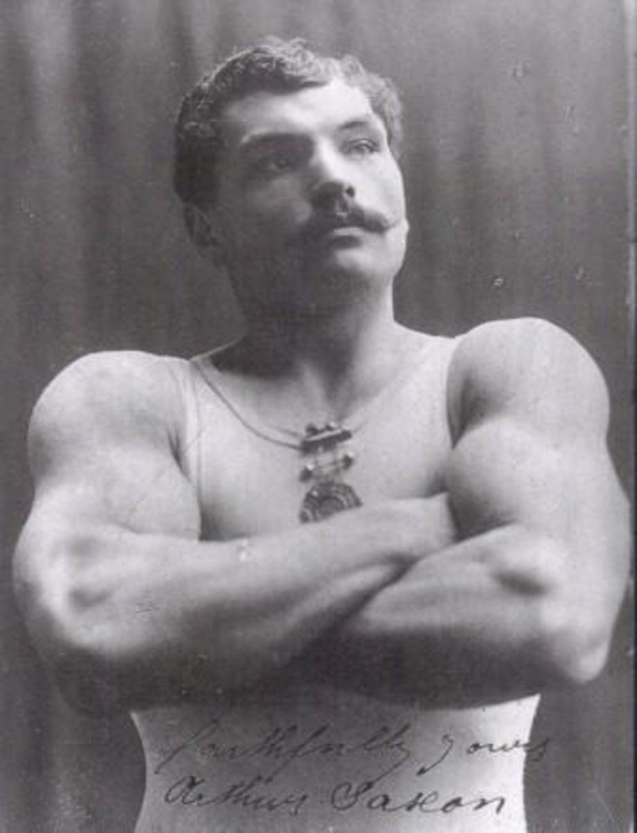 "Strongman Arthur Saxon, nicknamed ""The Iron Master"""