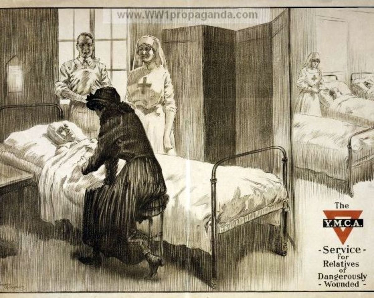 The Y.M.C.A. service for relatives of dangerously wounded poster.  This shows a woman visiting a wounded soldier in hospital while a doctor and Red Cross nurse look on.