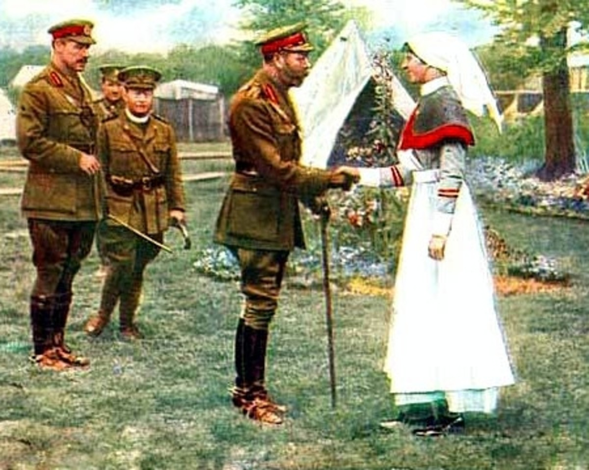 King George visits nurses at a field hospital