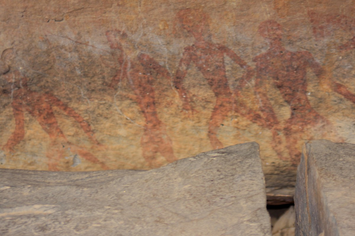 Tham Khon - the 'Human Cave'. Rock art believed to date from 3000 to 2000 years BC