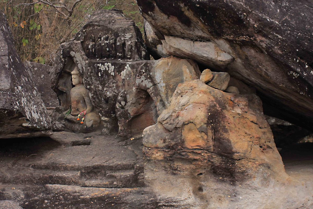 A carved Buddha icon dates from a later period during which Phu Phrabat took on considerable religious significance