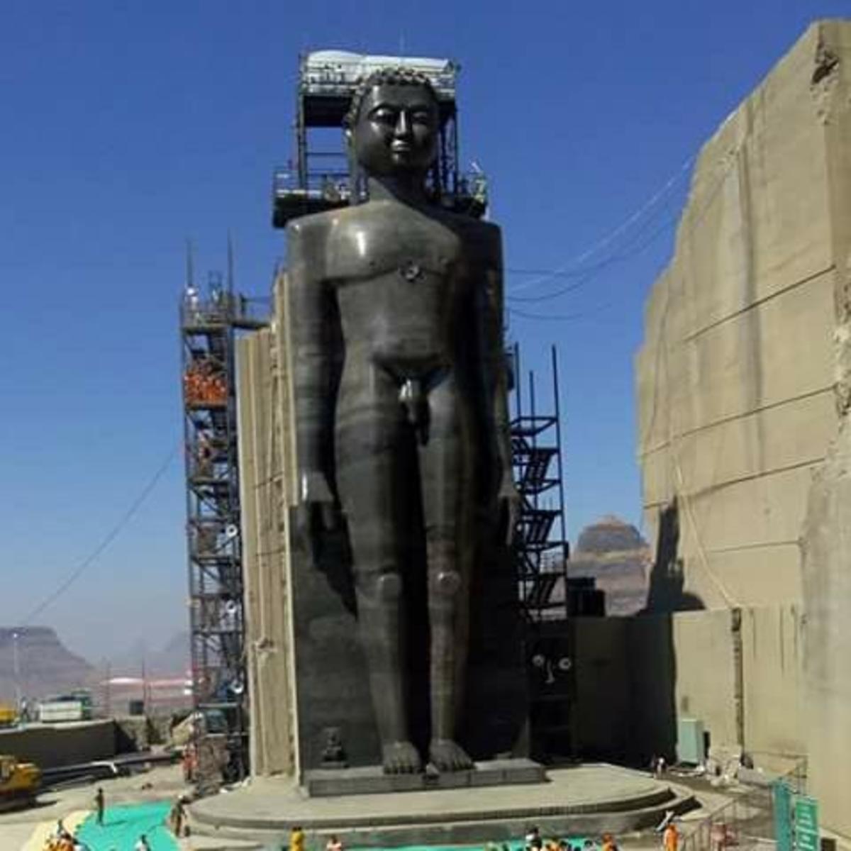 This is the tallest Jain statue in the world depicting  first Jain Tirthankara, Rishabhanatha.