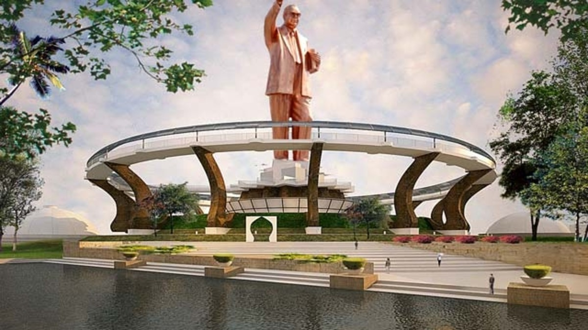 This upcoming statue of Dr. Ambedkar will be located in the middle of Mumbai city at Dadar.