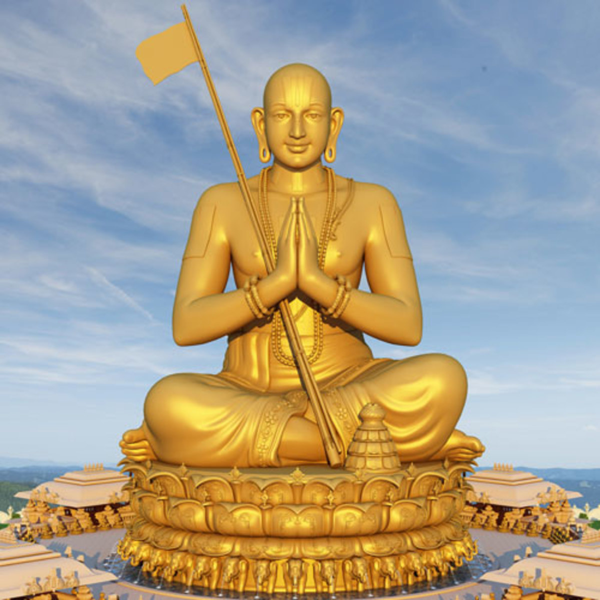 An artist's impression of the statue depicting Sri Ramanujacharya Swamy ji in Dhyan pose.