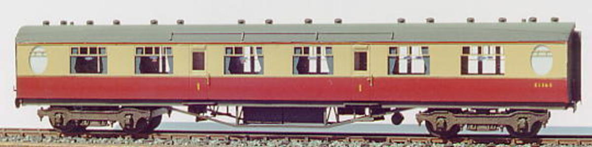 Made-up etched brass Comet Thompson Restaurant Car kit finished in BR Crimson & Cream with white metal detailing - images from their website