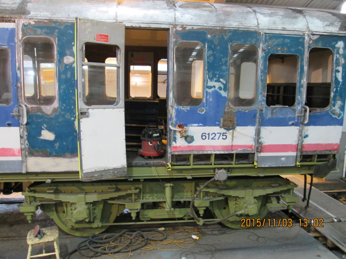 Steel bodied Network Southeast suburban stock at Locomotion awaits restorative attention in the workshop