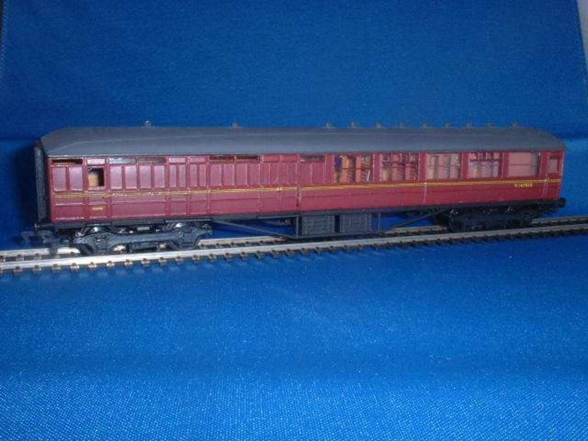 Sherwood Models' 4mm Side corridor Kirk Coach kit from Cooper Craft made up as Brake 2nd in BR maroon livery