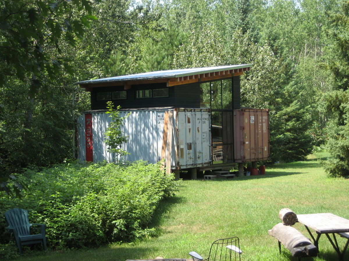 Shipping containers used to create a couples getaway.