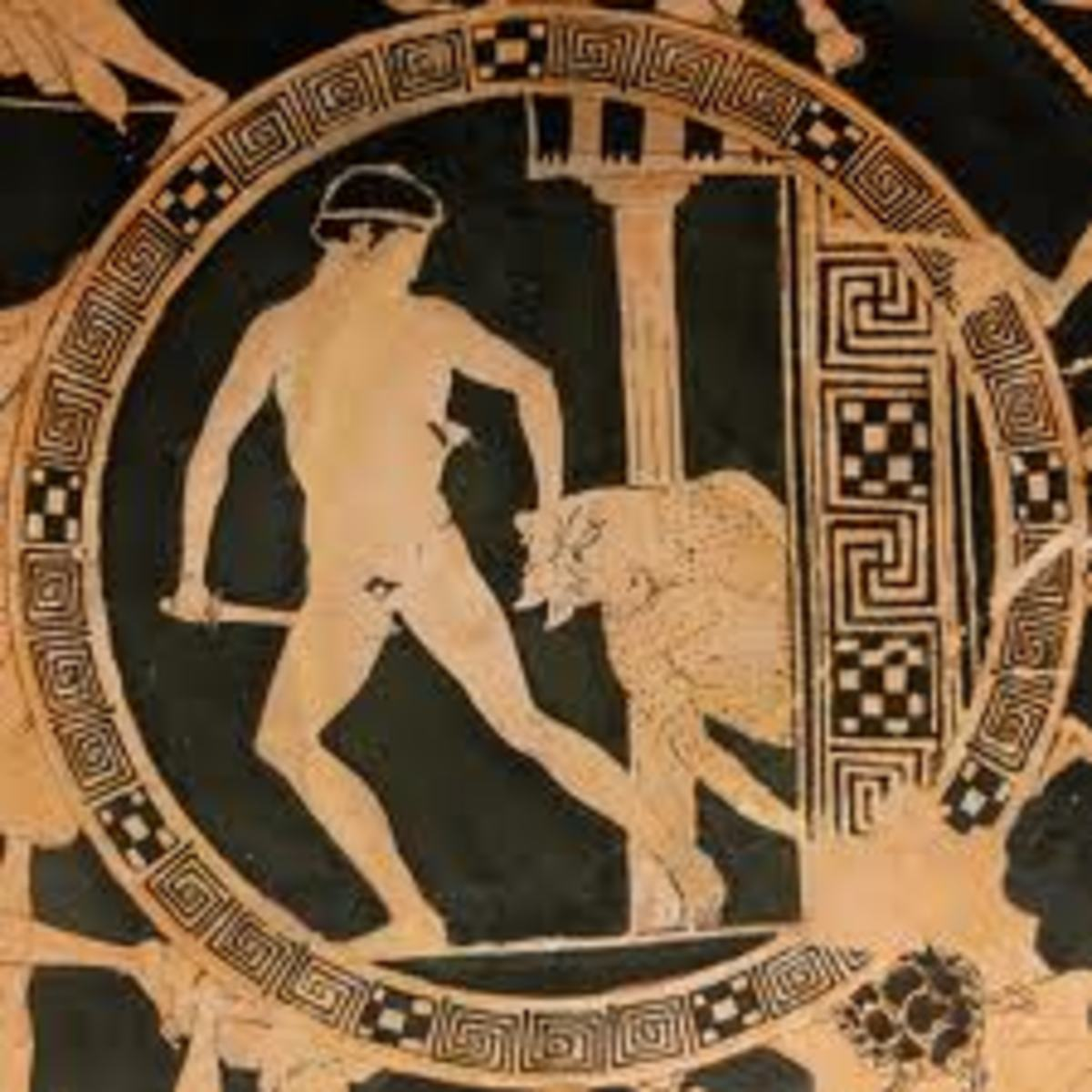 Theseus and Minotauros on vase