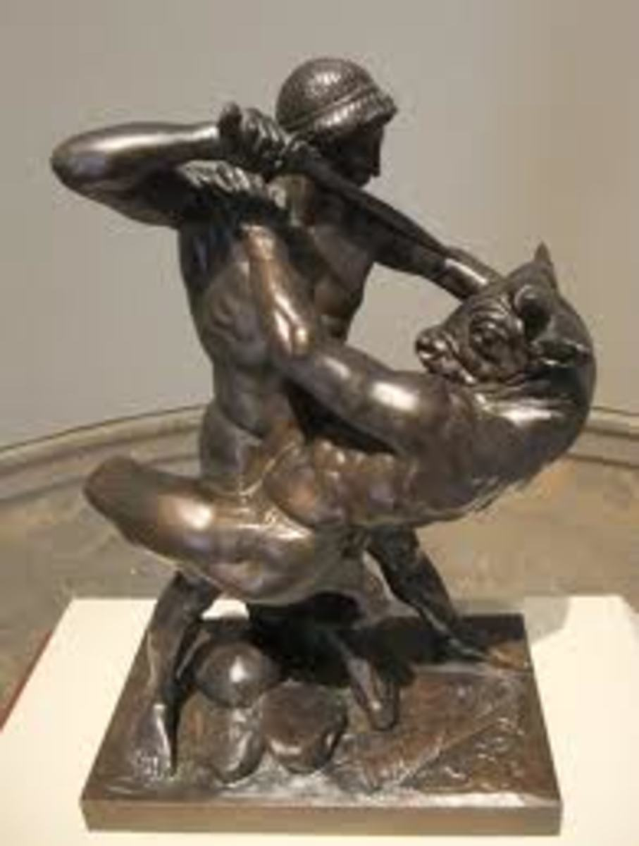 Theseus and Minotauros in bronze