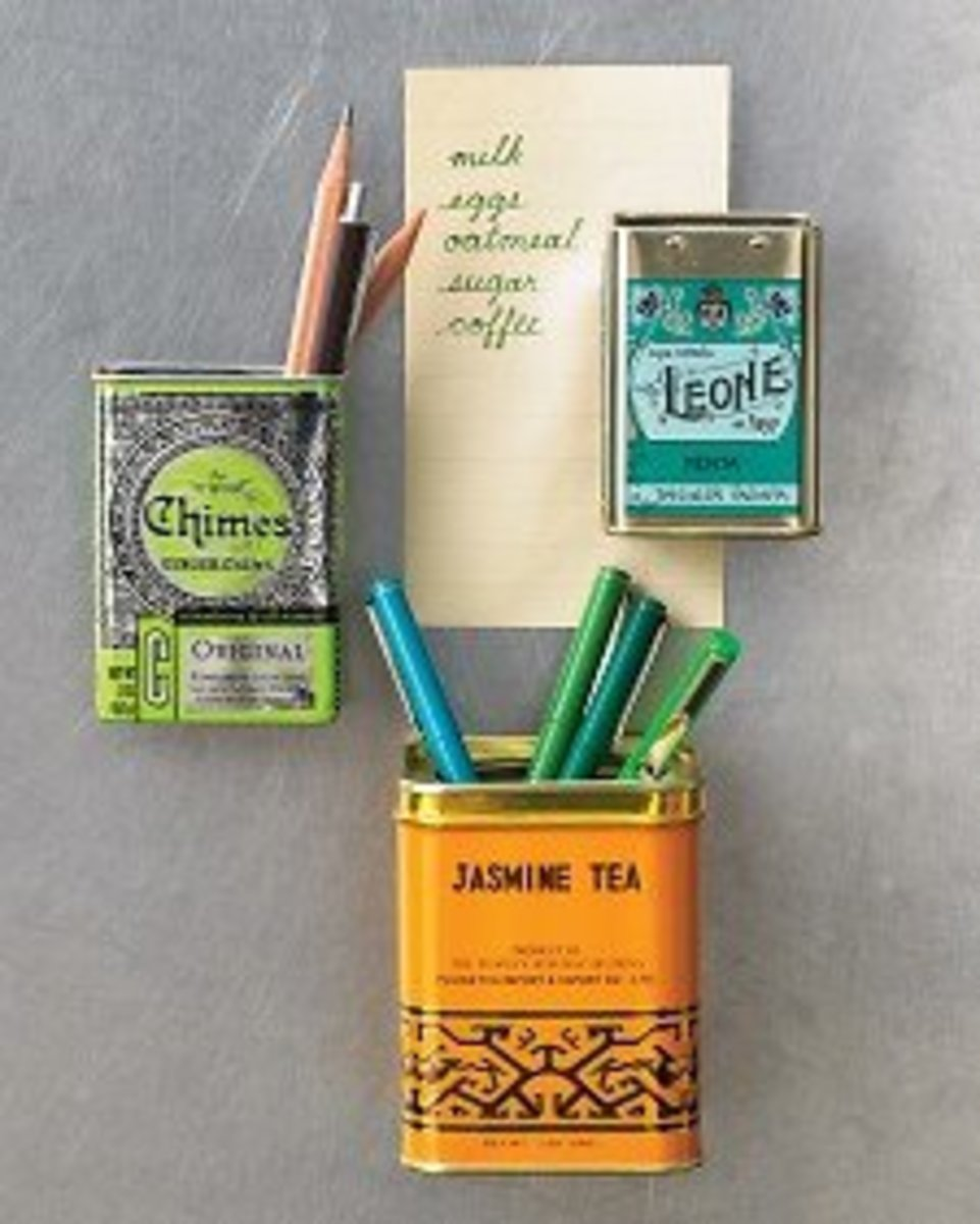Container magnets. Use empty tins to make container magnets. The link to this craft is provided below. Photo Credit:  MarthaStewart.com