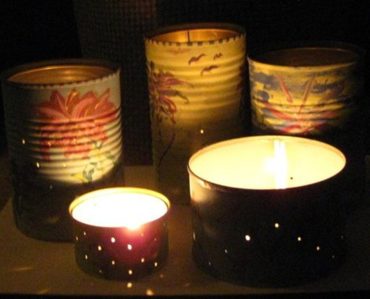 Recycled Tin Can Luminaries. Save your tin cans. For these tin can luminaries, I used tin cans from vegetables, cat food, and soup. Photo Credit:  Peggy Hazelwood
