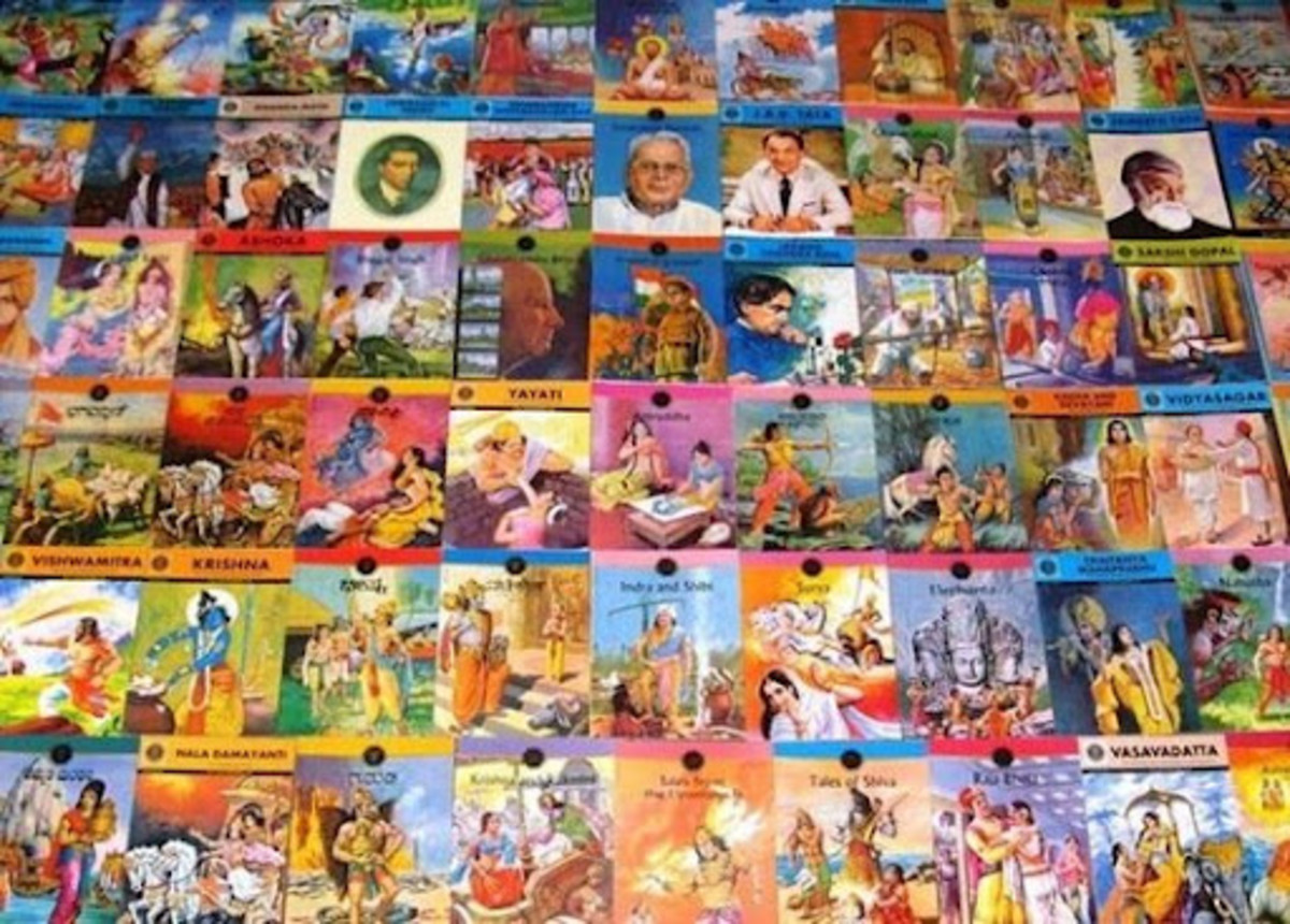 A vast array of Amar Chitra Katha comics