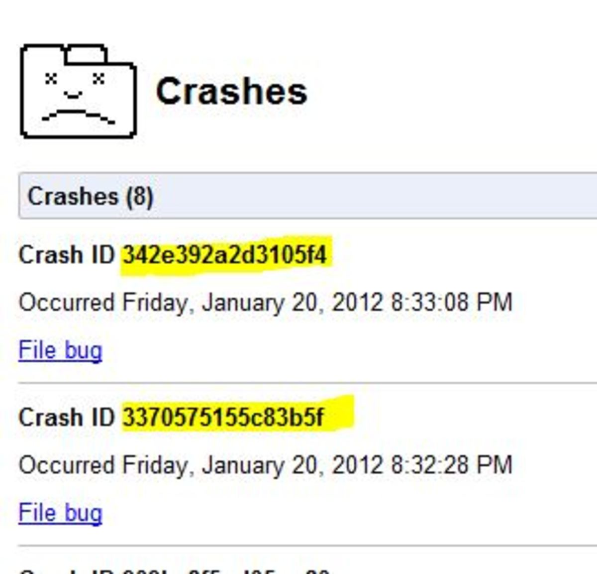 Google Chrome Crashes - 01/20/2012