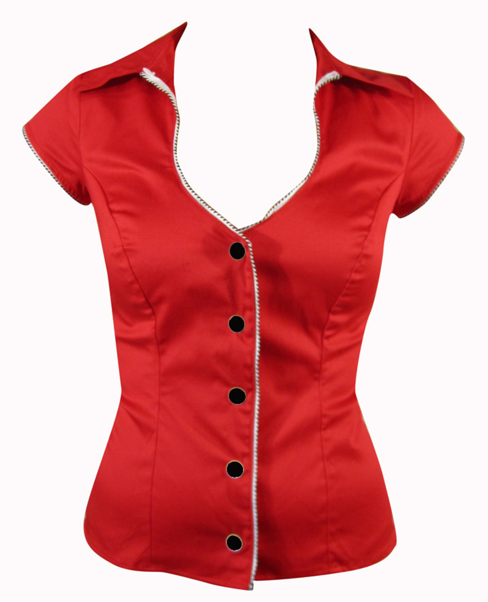 This little red number features princess seams and v-neck.