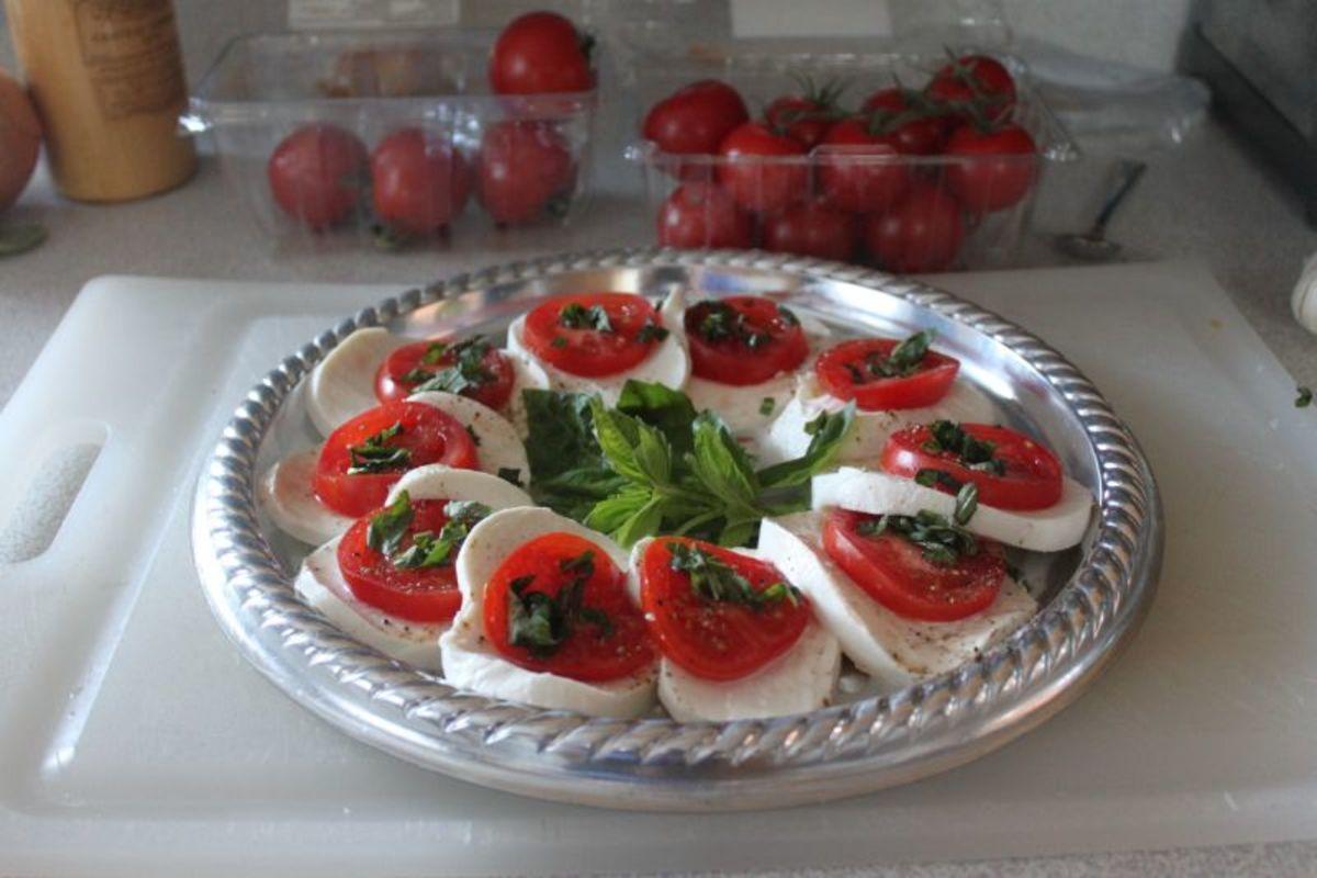 Fresh Mozzarella with Tomato and Basil.  Copyright 2012, Bill Yovino