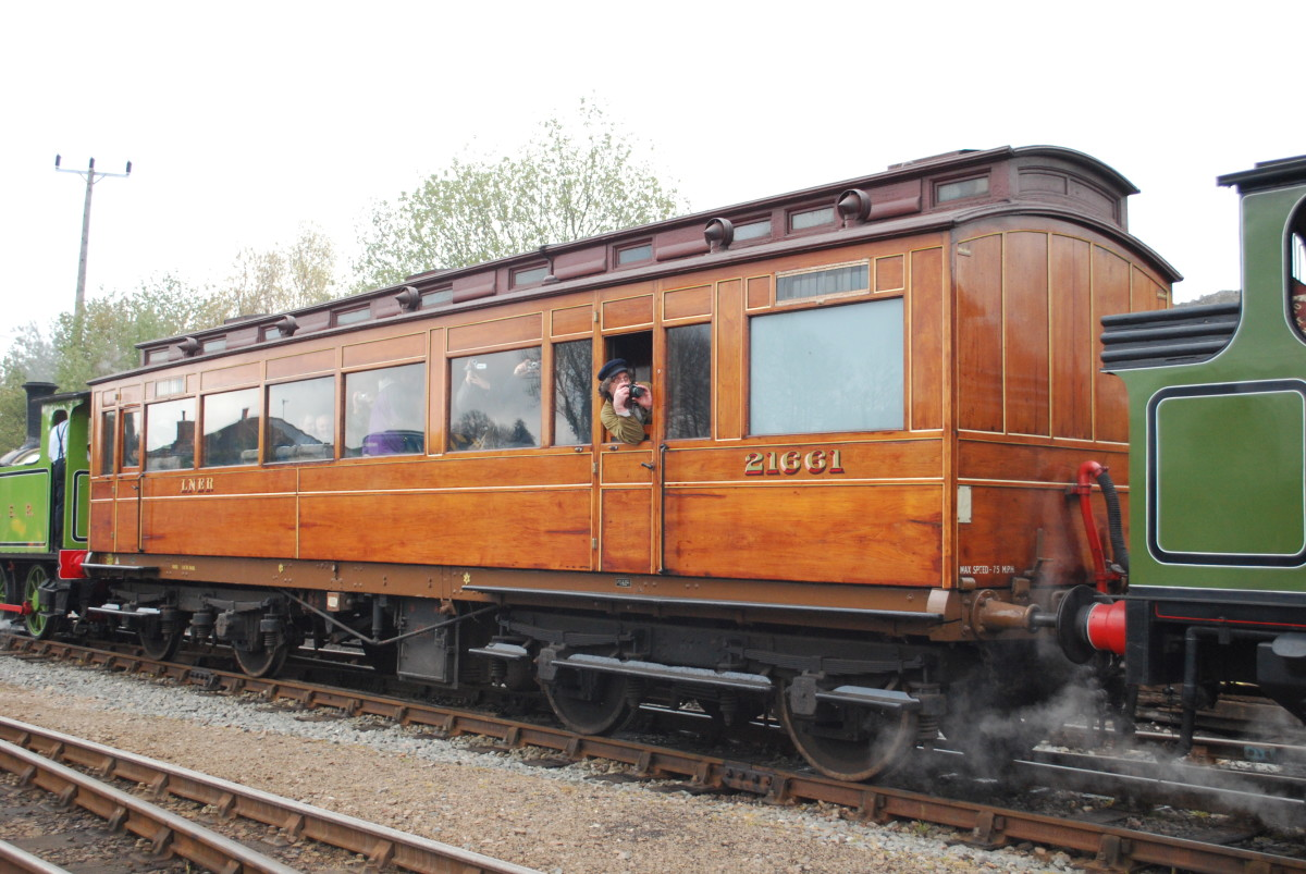 North Eastern Railway Inspectors' Saloon seen here in LNER livery - often taken out by 'Aerolite', the twice-converted tank locomotive (on the right in this image) which can be seen in the National Railway Museum, York