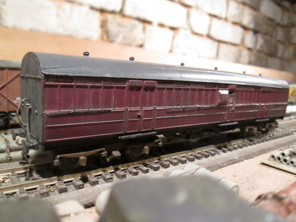 Ian Kirk non-corridor passenger brake bought from fellow DOGA member and modified - Fox bogies, as originally fitted, replaced couplings