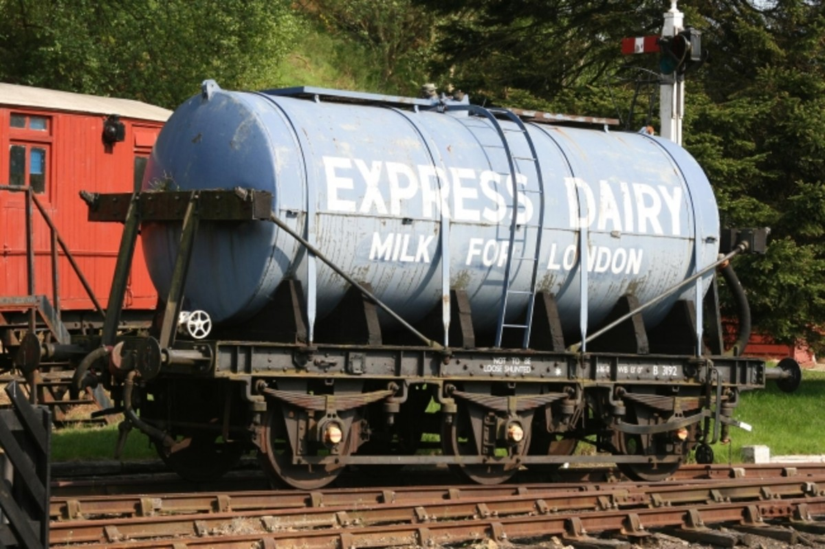 Still on the subject of bovine transport, let's look at milk conveyance: Express Dairy, 6-wheel  milk tank wagon at Goathland on the NYMR