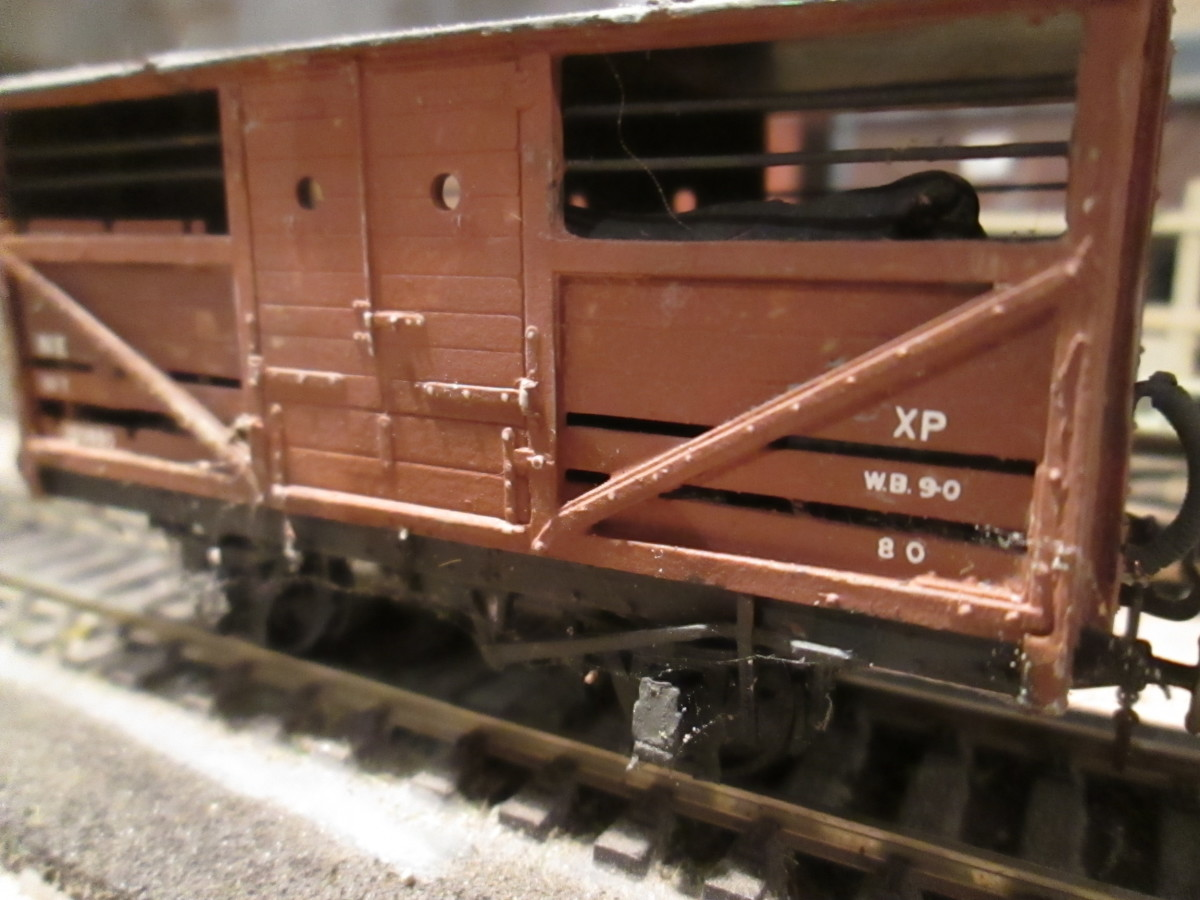 Close-up of one of the Parkside LNER/BR cattle wagons I built for the Thoraldby layout, vacuum pipes and screw couplings for fast working or for attachment behind a loco on local passenger diagrams