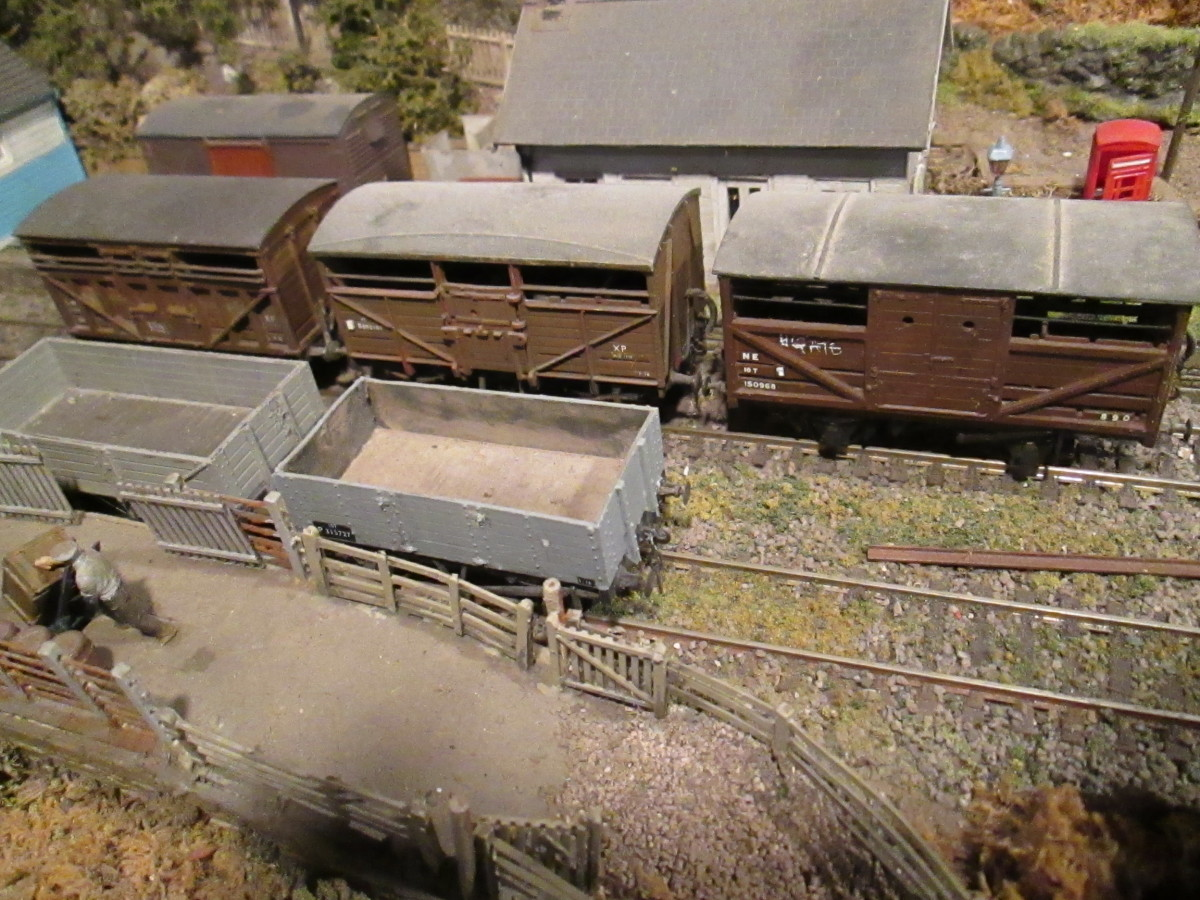 A trio of cattle wagons in early 1948-66 livery, from left to right: LMS, BR (based on the GWR type) and LNER