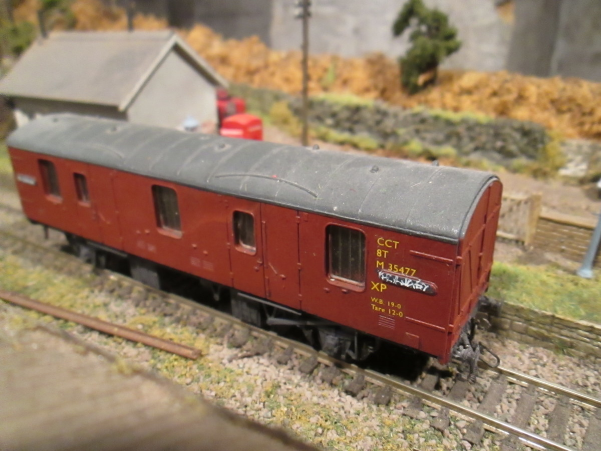Ex-LMS 4-wheeled CCT, also used latterly as GUV or on Parcels workings (probably on mail order traffic - the large mail order houses were based in the North), Lima again